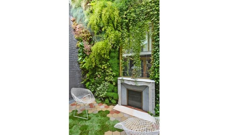 loft mur végétal cheminee