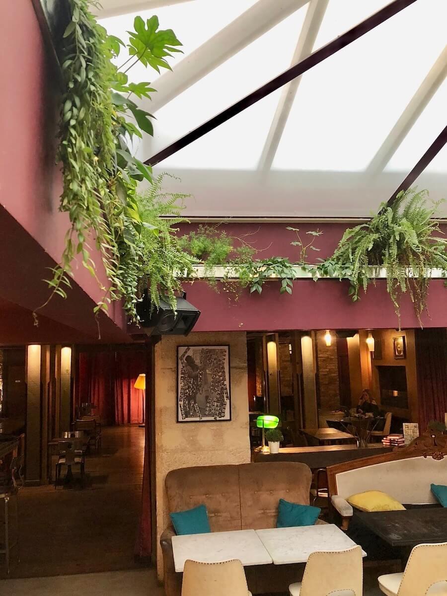 décoration végétale dans un restaurant à Paris avec une corniche végétale