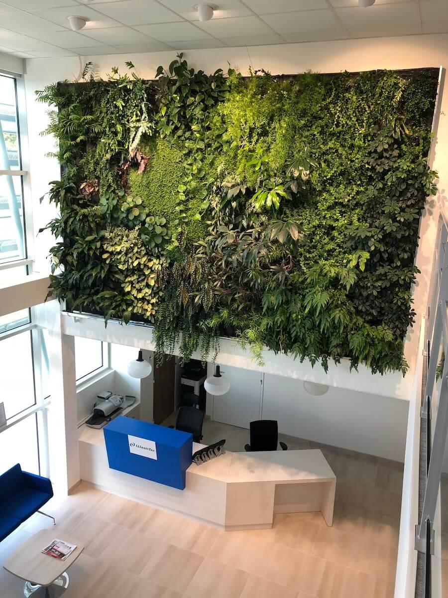 mur végétal surplomb un hall d'accueil