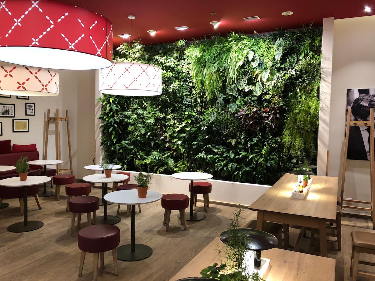 Restaurant vapiano avec son mur vegetal