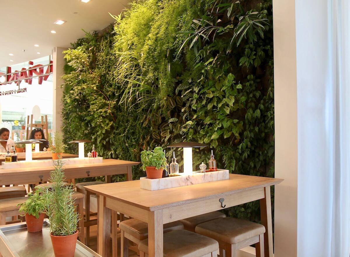 mur végétal naturel dans une gallérie commerciale Nantes