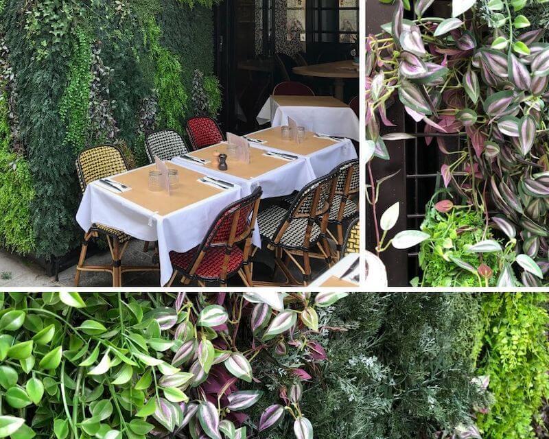 une terrasse de café avec un mur végétal artificiel