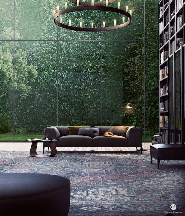 mur végétal en 3D