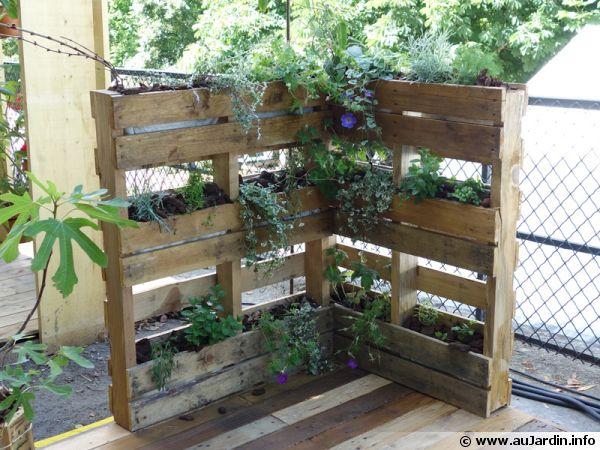 jardinières verticales avec des palettes