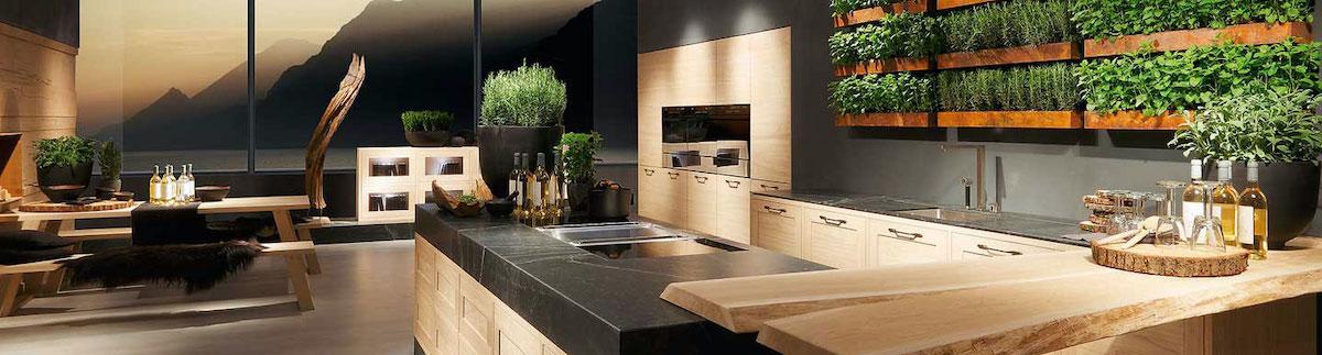 Mur végétal dans une cuisine